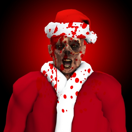 A Zombie father Christmas covered in blood   photo