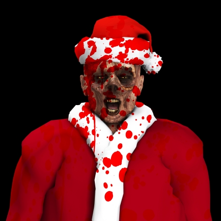 A Zombie father Christmas covered in blood   Stock Photo