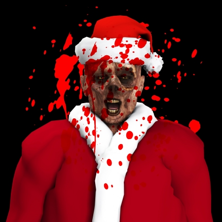 decaying: A Zombie father Christmas covered in blood   Stock Photo