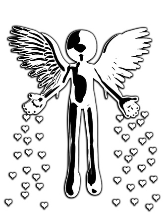 monotone holy: Illustration showing an angel throwing down hearts of love.