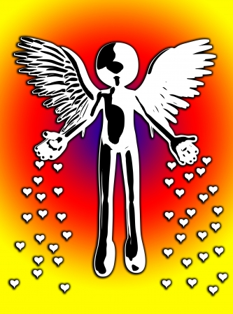 Illustration showing an angel throwing down hearts of love.