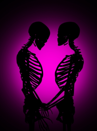 Male and female skeleton in a loving pose. Stock Photo - 17289834