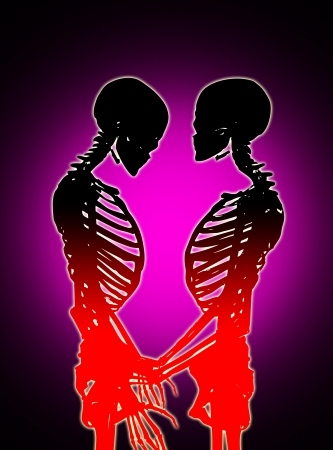 Male and female skeleton in a loving pose. Stock Photo - 17289846