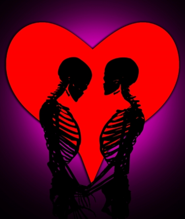 Male and female skeleton in a loving pose with a love heart. Stock Photo - 17289827
