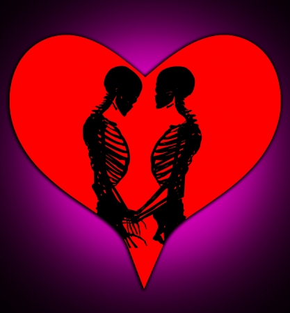 Male and female skeleton in a loving pose with a love heart. Stock Photo - 17289826