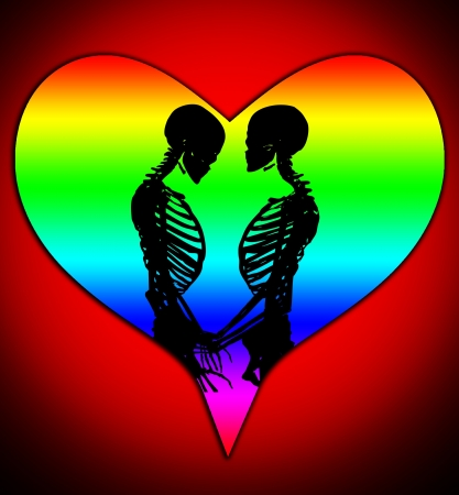 Male and female skeleton in a loving pose with a love heart. Stock Photo - 17289838