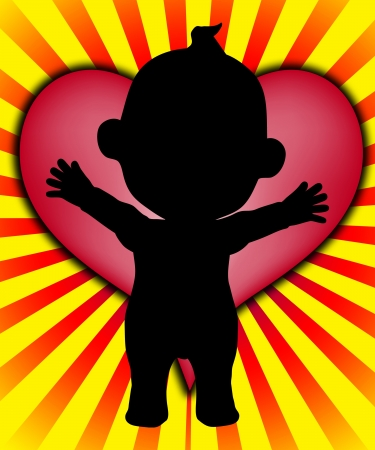 Baby with a massive big heart of love Stock Photo - 18221557