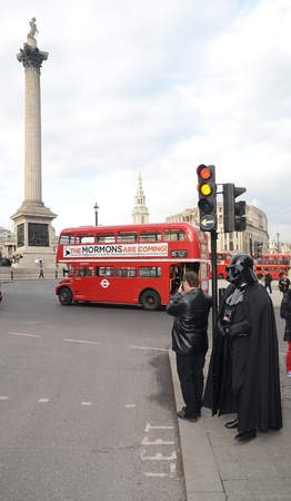 busses: London – March 14: Darth Vader out and about in Trafalgar Square in London March 14th, 2013 in London, England.