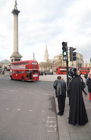 London – March 14: Darth Vader out and about in Trafalgar Square in London March 14th, 2013 in London, England.