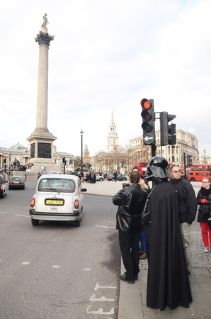 London � March 14: Darth Vader out and about in Trafalgar Square in London March 14th, 2013 in London, England.