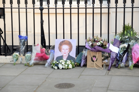 ex: London, April 8: Tributes for Ex British Prime Minster Margret Thatcher Victoria in London April 8th, 2013 in London, England.