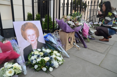 ex: London � April 8: Tributes for Ex British Prime Minster Margret Thatcher Victoria in London April 8th, 2013 in London, England.