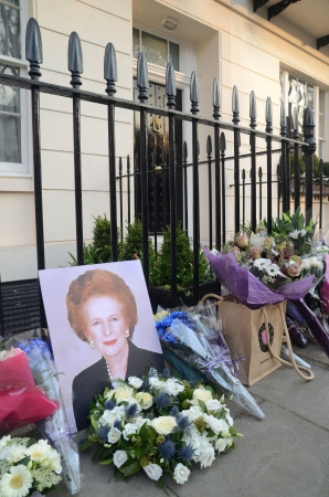 thatcher: London � April 8: Tributes for Ex British Prime Minster Margret Thatcher Victoria in London April 8th, 2013 in London, England.