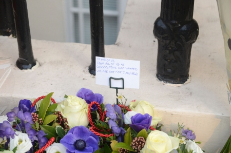 brit: London � April 8: Tributes for Ex British Prime Minster Margret Thatcher Victoria in London April 8th, 2013 in London, England.