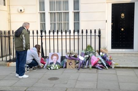 brit: London � April 8: Tributes for Ex British Prime Minster Margret Thatcher Victoria in London April 8th, 2013 in London, England.