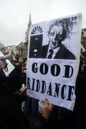 London – April 13: People celebrate the death of Ex British Prime Mister Margret Thatcher At The Thatcher Is Dead Party in Londons Trafalgar Square London April 13th, 2013 in London, England. Stock Photo - 19154233