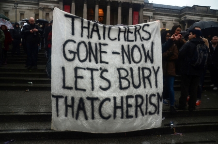 thatcher: London � April 13: People celebrate the death of Ex British Prime Mister Margret Thatcher At The Thatcher Is Dead Party in Londons Trafalgar Square London April 13th, 2013 in London, England. Editorial