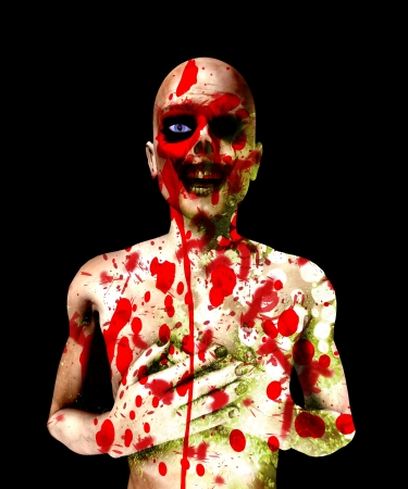 fester: Killed zombie that is covered in its blood.    Stock Photo