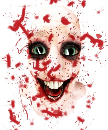 clownophobia: Rather insane looking male face covered in blood.