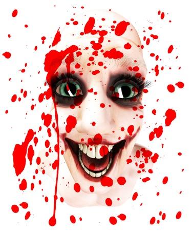 clownophobia: M?s bien loco cara masculina mira cubierto de sangre. Foto de archivo