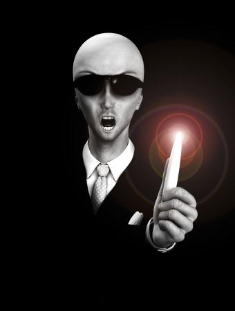 ufology: L'uomo in nero con una piuttosto alieno come il viso.