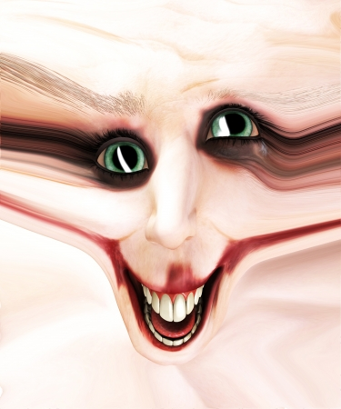 Clown face that has had its skin stretched out  Stock Photo