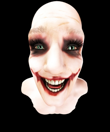 Close up of an insane person that is laughing