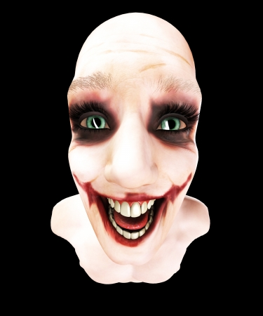 clownophobia: Close up of an insane person that is laughing