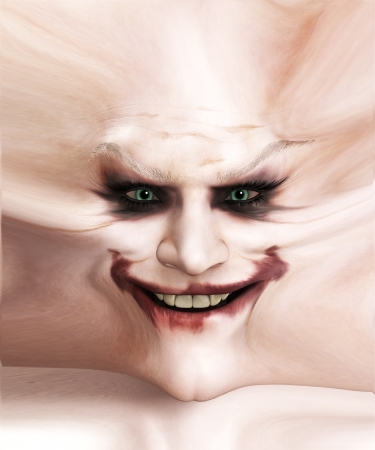clownophobia: Disturbing image of a stretched out clown flesh with a sinister smile