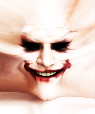 Disturbing image of a stretched out clown flesh with a sinister smile