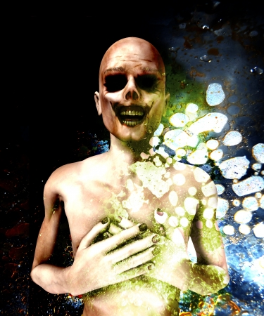 fester: The dead body of a a decaying zombie