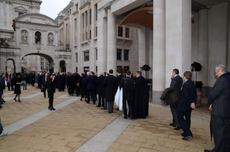 thatcher: London – April 17: Guests Including Celebrities And Political Figures Arrive To Attend The Funeral Of Margret Thatcher Outside St Pauls Cathedral London April 17th, 2013 in London, England.