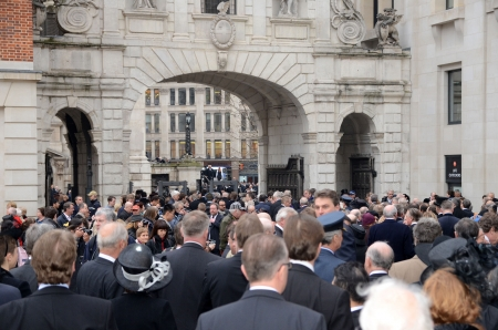 thatcher: London � April 17: Guests Including Celebrities And Political Figures Arrive To Attend The Funeral Of Margret Thatcher Outside St Pauls Cathedral London April 17th, 2013 in London, England.  Editorial