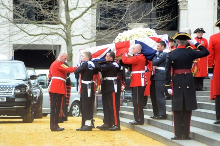 thatcher: London – April 17: The Coffin Of Ex British Prime Minster Margret Thatcher Departs Her Funeral Outside St Pauls Cathedral London April 17th, 2013 in London, England.
