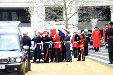 brit: London – April 17: The Coffin Of Ex British Prime Minster Margret Thatcher Departs Her Funeral Outside St Pauls Cathedral London April 17th, 2013 in London, England.
