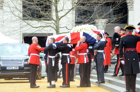 London � April 17: The Coffin Of Ex British Prime Minster Margret Thatcher Departs Her Funeral Outside St Pauls Cathedral London April 17th, 2013 in London, England. Stock Photo - 19295053