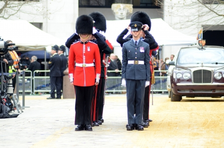 London – April 17: The Coffin Of Ex British Prime Minster Margret Thatcher Departs Her Funeral Outside St Pauls Cathedral London April 17th, 2013 in London, England.  Stock Photo - 19295011
