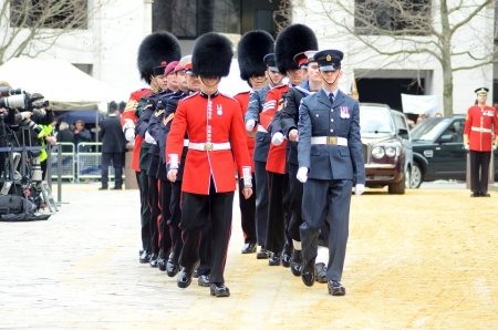 thatcher: London – April 17: The Coffin Of Ex British Prime Minster Margret Thatcher Departs Her Funeral Outside St Pauls Cathedral London April 17th, 2013 in London, England.  Editorial