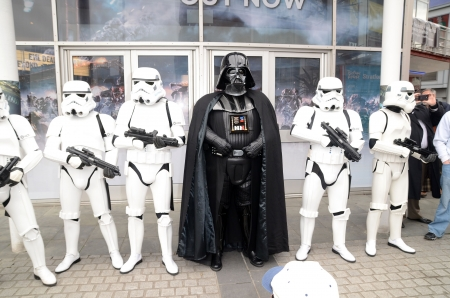 eventful: London � April 28: People dressing up in cosplay costume to take part in the Sci Fi London Parade which marks the start of the 2013 Sci Fi London Film festival in Stratford in London April 28th, 2013 in London, England.