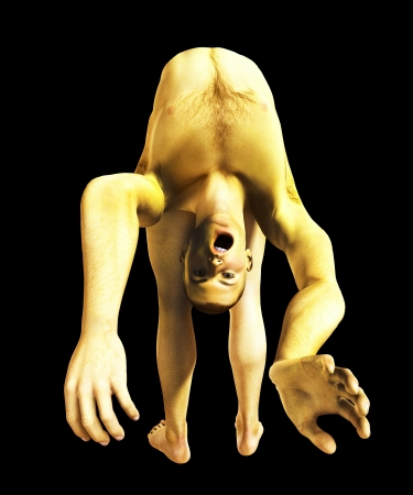 possessed: Demonically possessed man with his body in a very strange contortion.