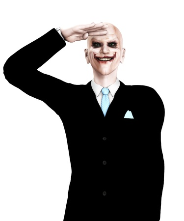 clownophobia: Evil clown figure that is saluting in a sinister way. Stock Photo