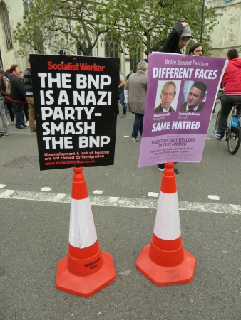 anti fascist: London � June 1: Protest sign against the BNP rally in Westminster, London June 1st, 2013 in London England.