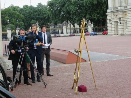 London - July 22: The easel that will display details about the royal baby outside Buckingham Palace, London July 22nd, 2013 in London England.