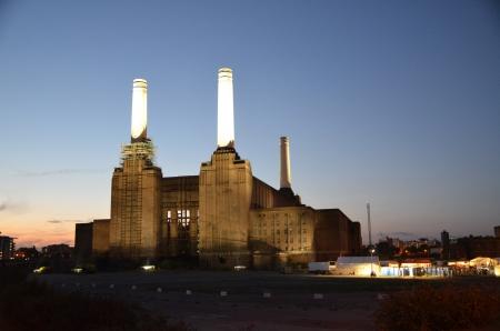battersea: View of the abandoned Battersea Power Station in Battersea.