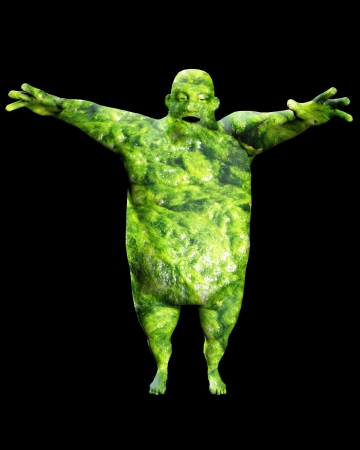 obese fat man made out of fungus. Stock Photo