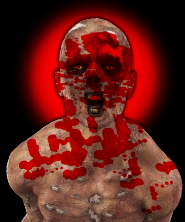 fester: Really horrible looking zombie covered in blood. Stock Photo