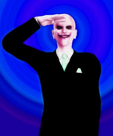 clownophobia: Insane y psic�tico payaso asesino que est� saludando.