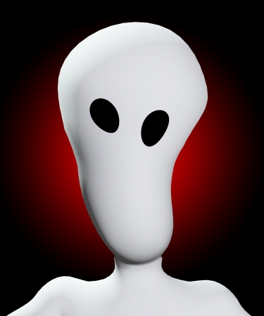 disturbing: Creepy blank face with hollow eyes that are distorted.  Stock Photo