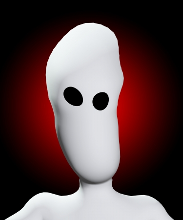 hollow: Creepy blank face with hollow eyes that are distorted.  Stock Photo