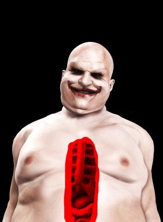 Fat horrible clown with a split pen stomach.